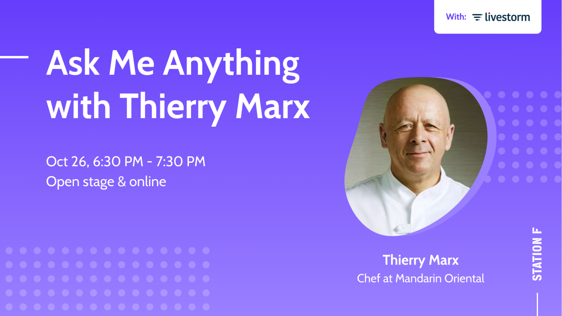 Thumbnail for event Ask Me Anything with Thierry Marx